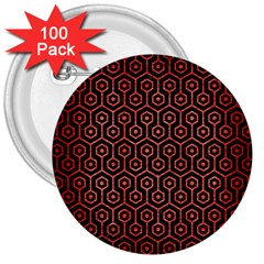 Hexagon1 Black Marble & Red Brushed Metal (r) 3  Buttons (100 Pack)  by trendistuff