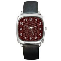 Hexagon1 Black Marble & Red Brushed Metal (r) Square Metal Watch by trendistuff