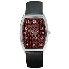 Hexagon1 Black Marble & Red Brushed Metal (r) Barrel Style Metal Watch by trendistuff