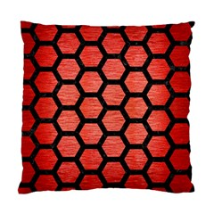 Hexagon2 Black Marble & Red Brushed Metal Standard Cushion Case (two Sides)