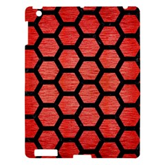 Hexagon2 Black Marble & Red Brushed Metal Apple Ipad 3/4 Hardshell Case by trendistuff
