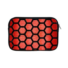 Hexagon2 Black Marble & Red Brushed Metal Apple Ipad Mini Zipper Cases by trendistuff