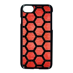 Hexagon2 Black Marble & Red Brushed Metal Apple Iphone 7 Seamless Case (black) by trendistuff