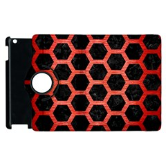 Hexagon2 Black Marble & Red Brushed Metal (r) Apple Ipad 2 Flip 360 Case by trendistuff