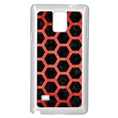 Hexagon2 Black Marble & Red Brushed Metal (r) Samsung Galaxy Note 4 Case (white) by trendistuff