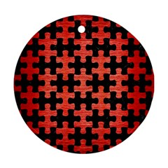 Puzzle1 Black Marble & Red Brushed Metal Ornament (round) by trendistuff