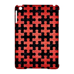 Puzzle1 Black Marble & Red Brushed Metal Apple Ipad Mini Hardshell Case (compatible With Smart Cover) by trendistuff