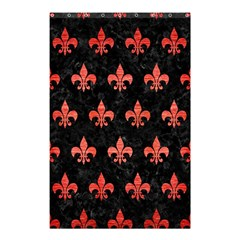 Royal1 Black Marble & Red Brushed Metal Shower Curtain 48  X 72  (small)  by trendistuff