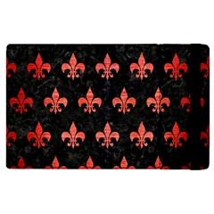 Royal1 Black Marble & Red Brushed Metal Apple Ipad 2 Flip Case by trendistuff