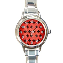 Royal1 Black Marble & Red Brushed Metal (r) Round Italian Charm Watch by trendistuff