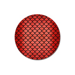 Scales1 Black Marble & Red Brushed Metal Magnet 3  (round) by trendistuff