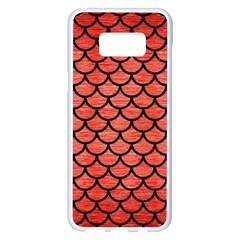 Scales1 Black Marble & Red Brushed Metal Samsung Galaxy S8 Plus White Seamless Case by trendistuff