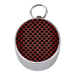 Scales1 Black Marble & Red Brushed Metal (r) Mini Silver Compasses by trendistuff