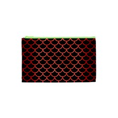 Scales1 Black Marble & Red Brushed Metal (r) Cosmetic Bag (xs) by trendistuff