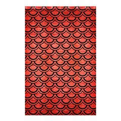 Scales2 Black Marble & Red Brushed Metal Shower Curtain 48  X 72  (small)  by trendistuff