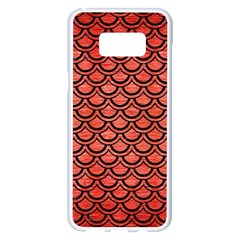 Scales2 Black Marble & Red Brushed Metal Samsung Galaxy S8 Plus White Seamless Case by trendistuff