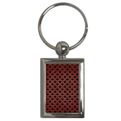 Scales2 Black Marble & Red Brushed Metal (r) Key Chains (rectangle)  by trendistuff