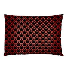 Scales2 Black Marble & Red Brushed Metal (r) Pillow Case by trendistuff