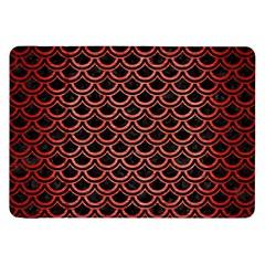 Scales2 Black Marble & Red Brushed Metal (r) Samsung Galaxy Tab 8 9  P7300 Flip Case by trendistuff