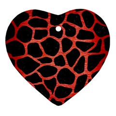 Skin1 Black Marble & Red Brushed Metal Heart Ornament (two Sides) by trendistuff