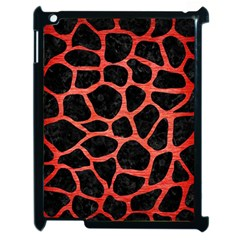 Skin1 Black Marble & Red Brushed Metal Apple Ipad 2 Case (black) by trendistuff