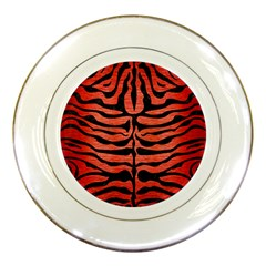 Skin2 Black Marble & Red Brushed Metal Porcelain Plates by trendistuff