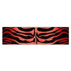 Skin2 Black Marble & Red Brushed Metal (r) Satin Scarf (oblong) by trendistuff