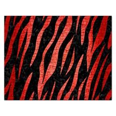 Skin3 Black Marble & Red Brushed Metal (r) Rectangular Jigsaw Puzzl by trendistuff