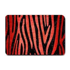 Skin4 Black Marble & Red Brushed Metal Small Doormat  by trendistuff