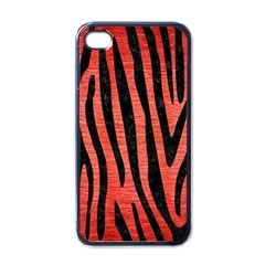 Skin4 Black Marble & Red Brushed Metal (r) Apple Iphone 4 Case (black) by trendistuff