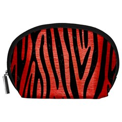 Skin4 Black Marble & Red Brushed Metal (r) Accessory Pouches (large)