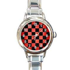 Square1 Black Marble & Red Brushed Metal Round Italian Charm Watch by trendistuff