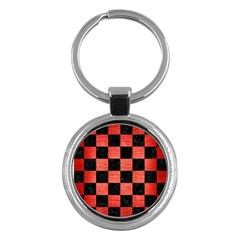 Square1 Black Marble & Red Brushed Metal Key Chains (round)  by trendistuff