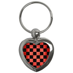 Square1 Black Marble & Red Brushed Metal Key Chains (heart)  by trendistuff