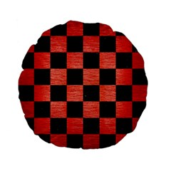 Square1 Black Marble & Red Brushed Metal Standard 15  Premium Flano Round Cushions by trendistuff