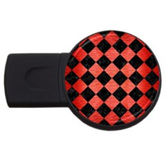 Square2 Black Marble & Red Brushed Metal Usb Flash Drive Round (4 Gb) by trendistuff