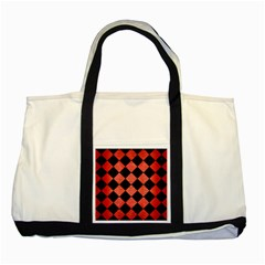 Square2 Black Marble & Red Brushed Metal Two Tone Tote Bag by trendistuff