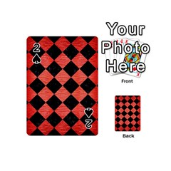 Square2 Black Marble & Red Brushed Metal Playing Cards 54 (mini)  by trendistuff