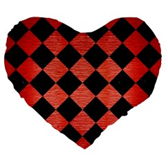 Square2 Black Marble & Red Brushed Metal Large 19  Premium Flano Heart Shape Cushions by trendistuff