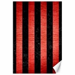 Stripes1 Black Marble & Red Brushed Metal Canvas 20  X 30   by trendistuff
