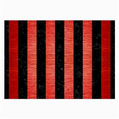 Stripes1 Black Marble & Red Brushed Metal Large Glasses Cloth (2 Side) by trendistuff