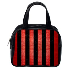 Stripes1 Black Marble & Red Brushed Metal Classic Handbags (one Side) by trendistuff