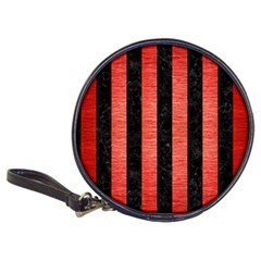 Stripes1 Black Marble & Red Brushed Metal Classic 20 Cd Wallets by trendistuff