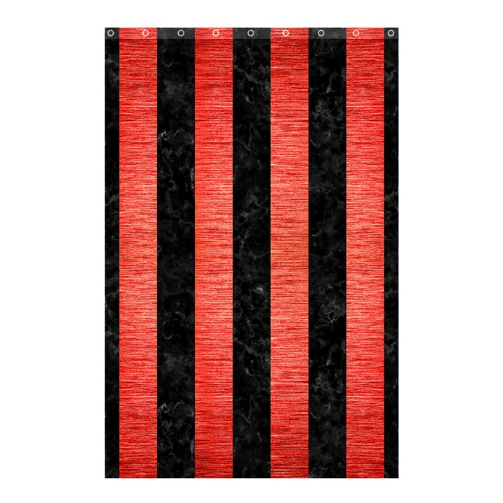 STRIPES1 BLACK MARBLE & RED BRUSHED METAL Shower Curtain 48  x 72  (Small)