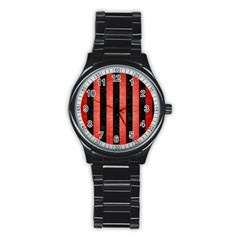 Stripes1 Black Marble & Red Brushed Metal Stainless Steel Round Watch