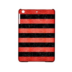 Stripes2 Black Marble & Red Brushed Metal Ipad Mini 2 Hardshell Cases by trendistuff
