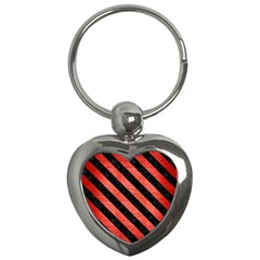 Stripes3 Black Marble & Red Brushed Metal Key Chains (heart)  by trendistuff