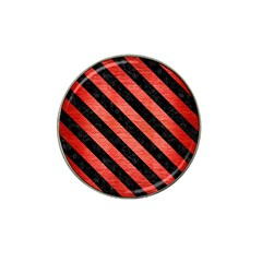 Stripes3 Black Marble & Red Brushed Metal Hat Clip Ball Marker (4 Pack) by trendistuff