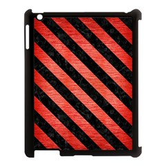 Stripes3 Black Marble & Red Brushed Metal Apple Ipad 3/4 Case (black) by trendistuff