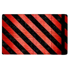 Stripes3 Black Marble & Red Brushed Metal Apple Ipad Pro 12 9   Flip Case by trendistuff